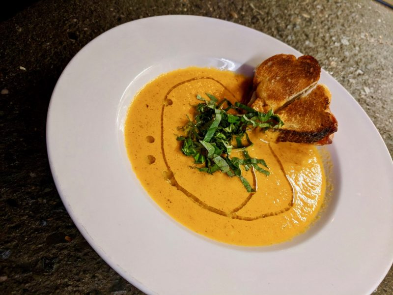 Tomato Soup w/ Manchego Crostini (a.k.a Mini Grilled Cheese)